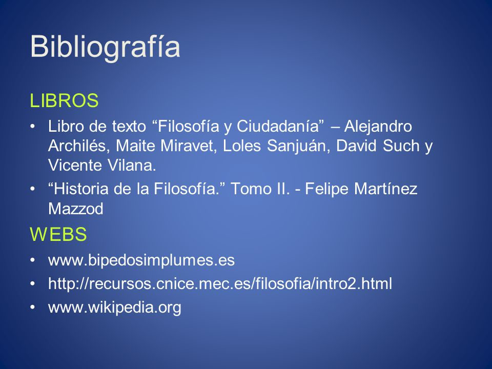 Bibliografía LIBROS WEBS