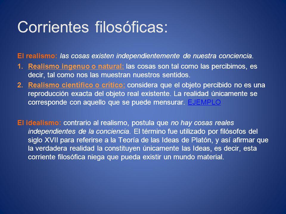 Corrientes filosóficas: