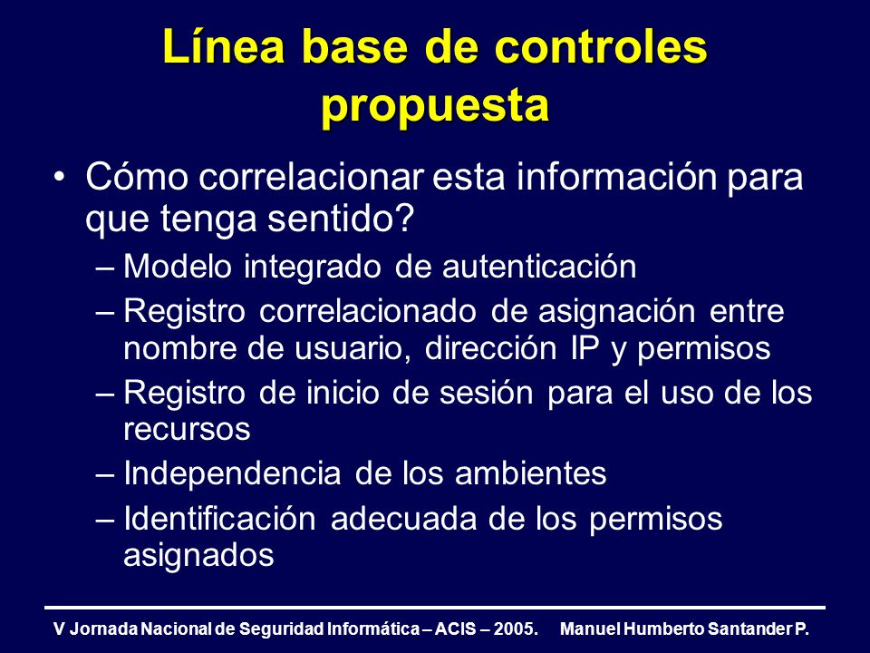Línea base de controles propuesta