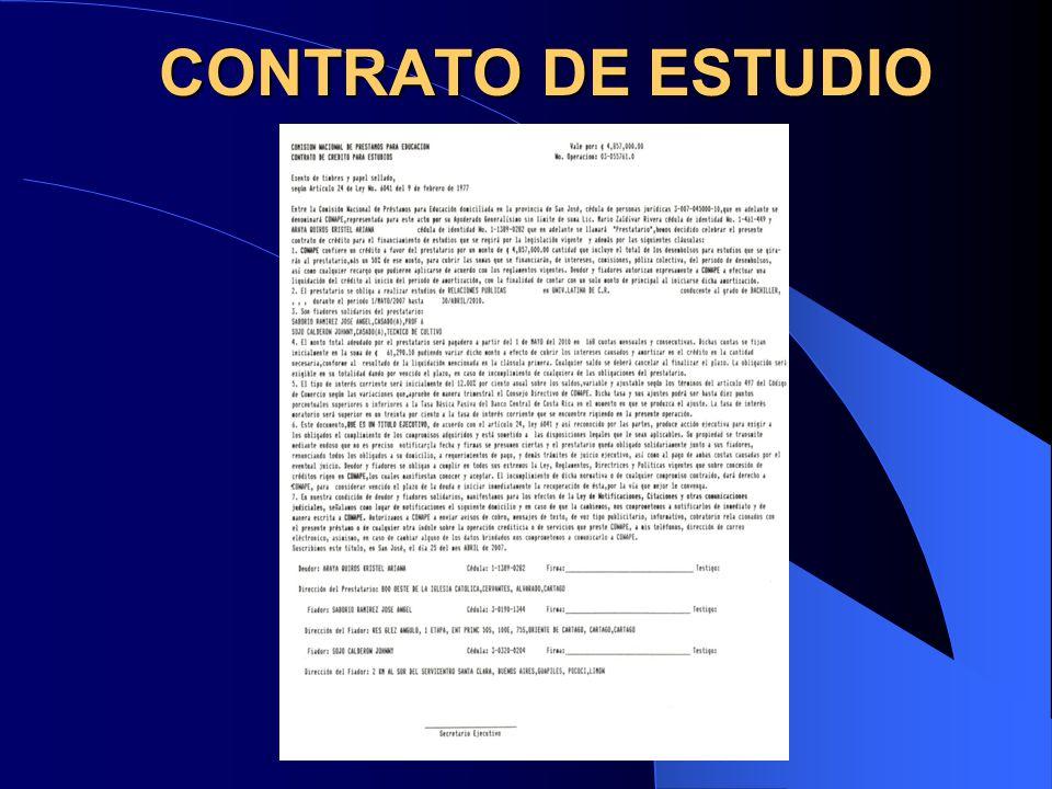 CONTRATO DE ESTUDIO