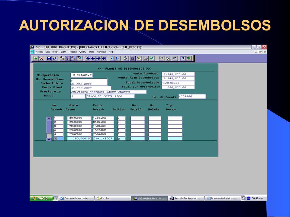 AUTORIZACION DE DESEMBOLSOS