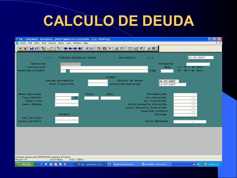 CALCULO DE DEUDA