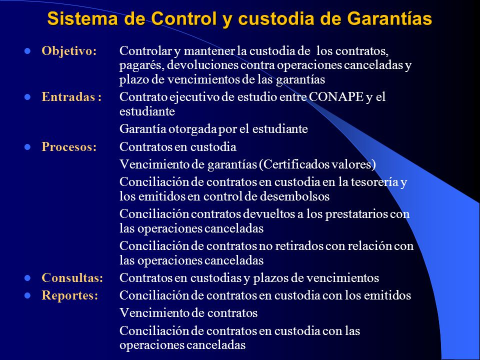 Sistema de Control y custodia de Garantías