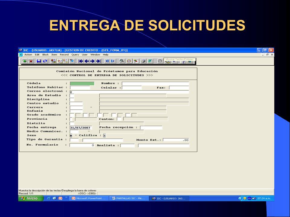 ENTREGA DE SOLICITUDES