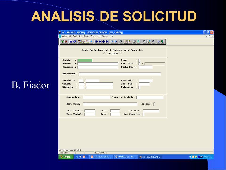 ANALISIS DE SOLICITUD B. Fiador