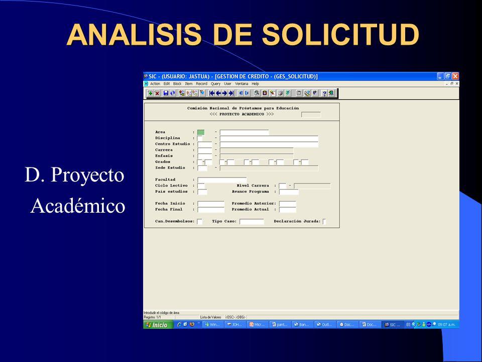 ANALISIS DE SOLICITUD D. Proyecto Académico
