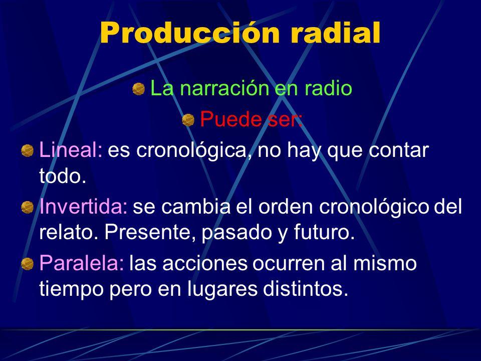 Producción radial La narración en radio Puede ser: