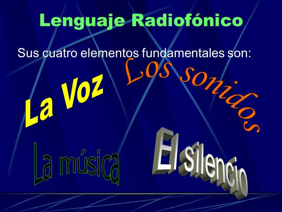 Lenguaje Radiofónico Sus cuatro elementos fundamentales son: La Voz