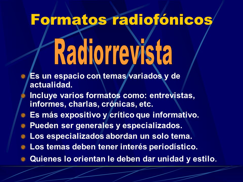 Formatos radiofónicos