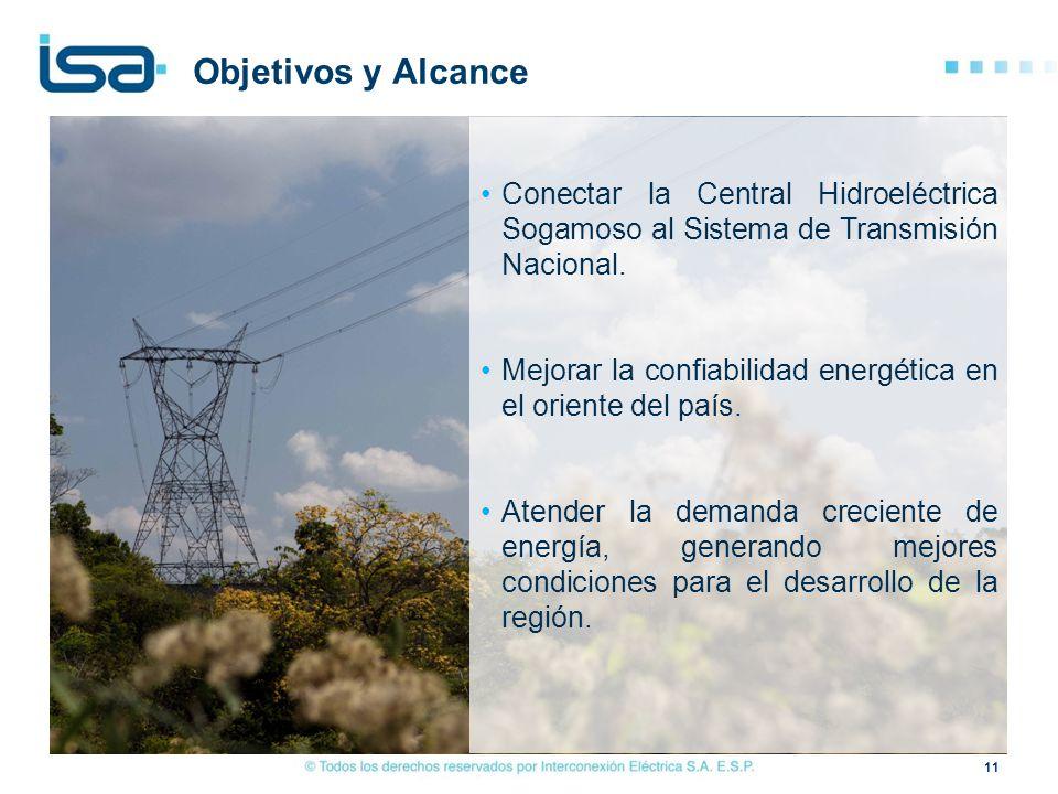 Objetivos y Alcance Conectar la Central Hidroeléctrica Sogamoso al Sistema de Transmisión Nacional.