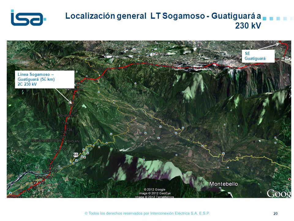 Localización general LT Sogamoso - Guatiguará a 230 kV