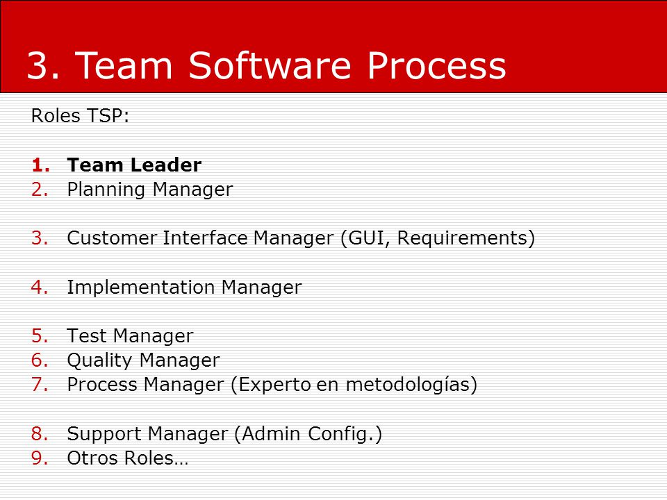 3. Team Software Process Roles TSP: Team Leader Planning Manager
