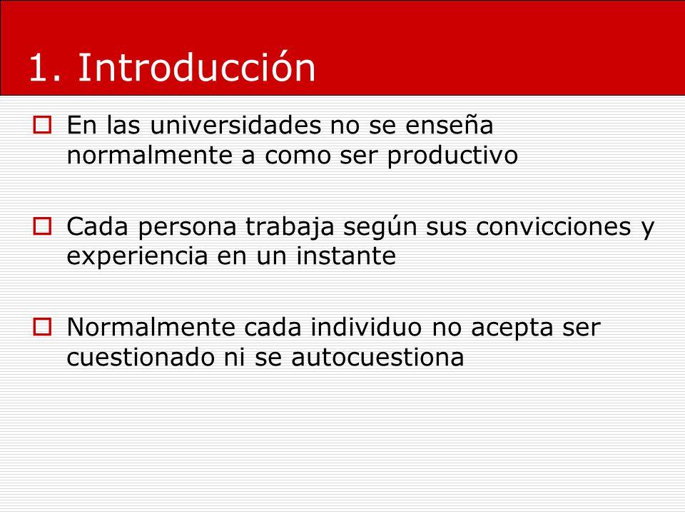 1. Introducción En las universidades no se enseña normalmente a como ser productivo.