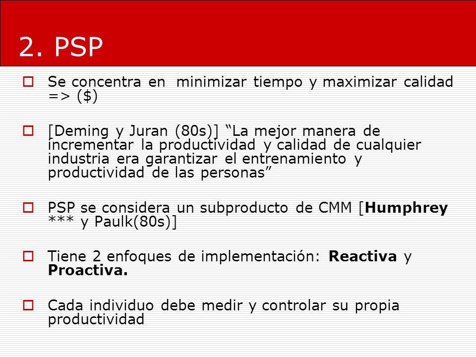 2. PSP Se concentra en minimizar tiempo y maximizar calidad => ($)