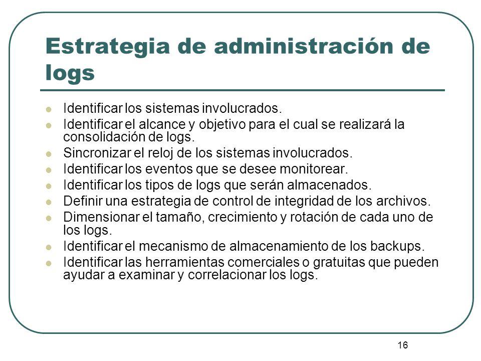Estrategia de administración de logs
