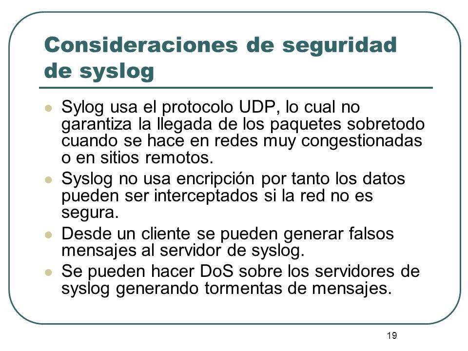 Consideraciones de seguridad de syslog