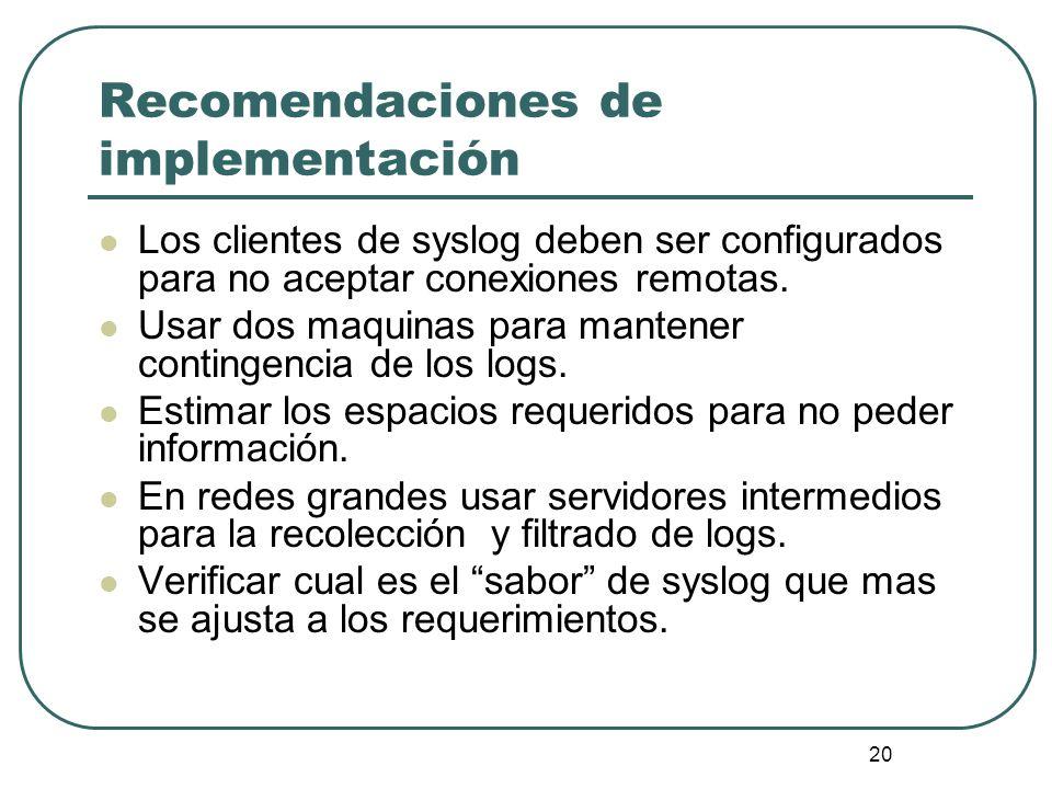 Recomendaciones de implementación