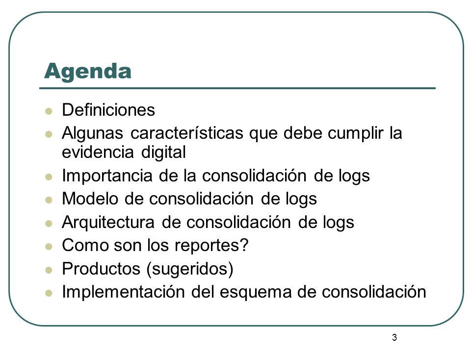 Agenda Definiciones. Algunas características que debe cumplir la evidencia digital. Importancia de la consolidación de logs.