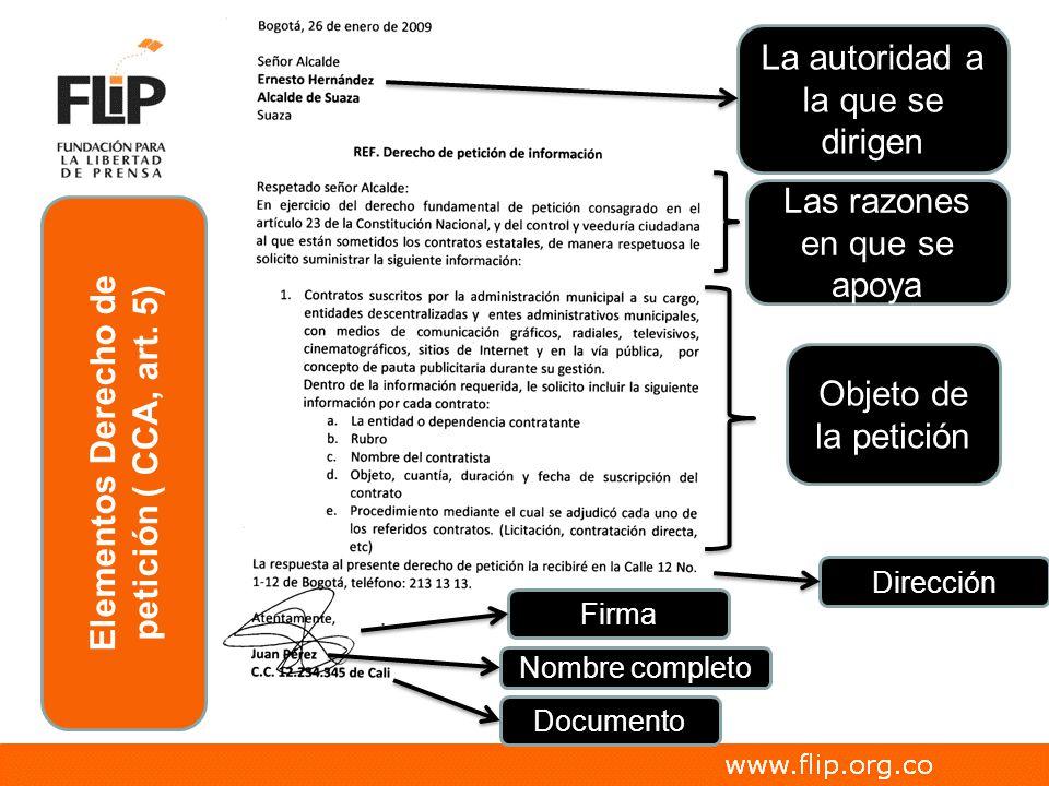 Elementos Derecho de petición ( CCA, art. 5)