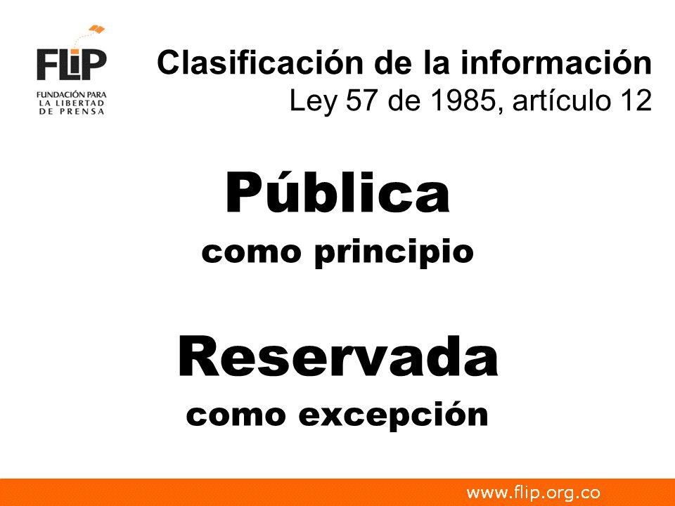 Clasificación de la información Ley 57 de 1985, artículo 12