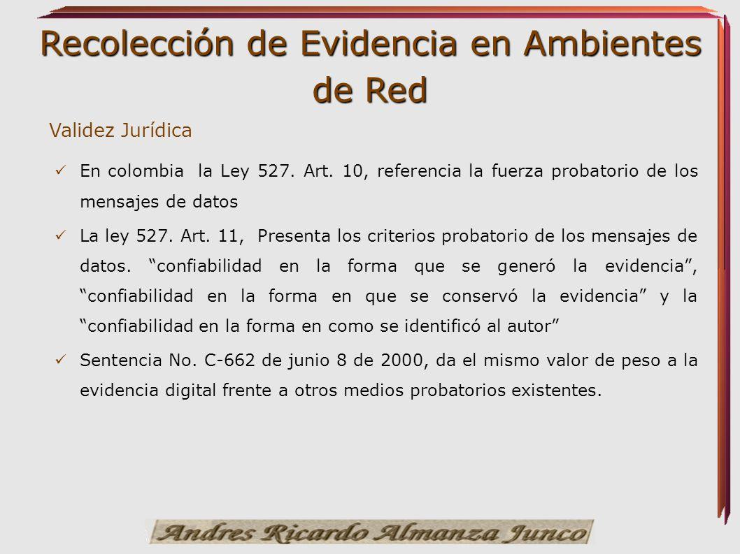 Validez Jurídica En colombia la Ley 527. Art. 10, referencia la fuerza probatorio de los mensajes de datos.