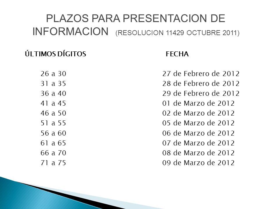 PLAZOS PARA PRESENTACION DE INFORMACION (RESOLUCION 11429 OCTUBRE 2011)