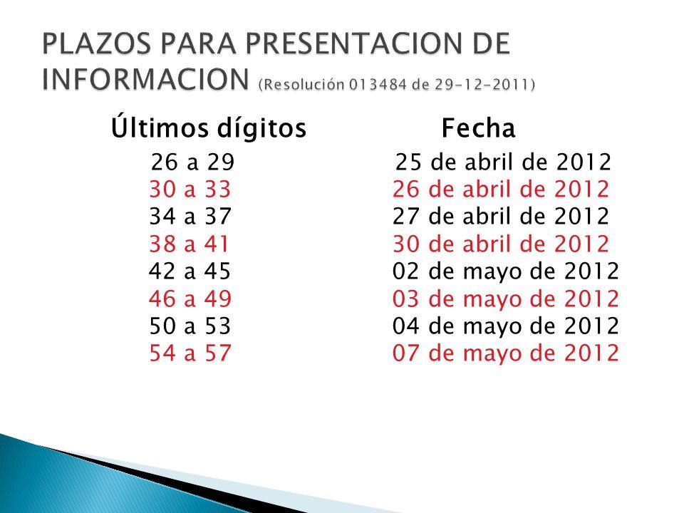 PLAZOS PARA PRESENTACION DE INFORMACION (Resolución 013484 de 29-12-2011)