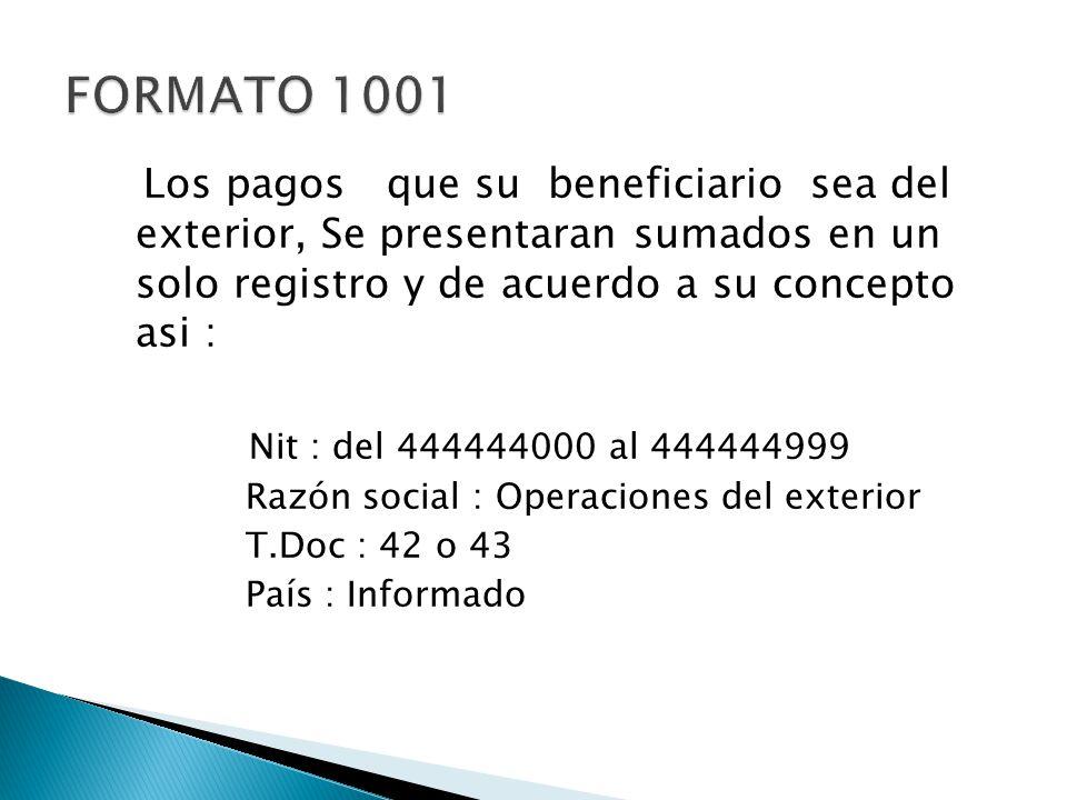 FORMATO 1001 Los pagos que su beneficiario sea del exterior, Se presentaran sumados en un solo registro y de acuerdo a su concepto asi :