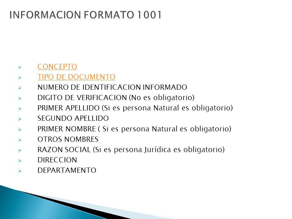 INFORMACION FORMATO 1001 CONCEPTO TIPO DE DOCUMENTO