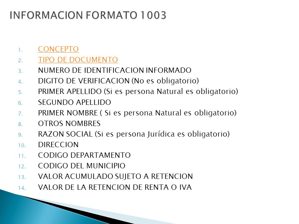 INFORMACION FORMATO 1003 CONCEPTO TIPO DE DOCUMENTO