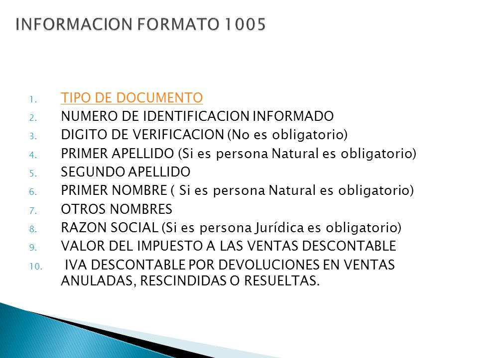 INFORMACION FORMATO 1005 TIPO DE DOCUMENTO