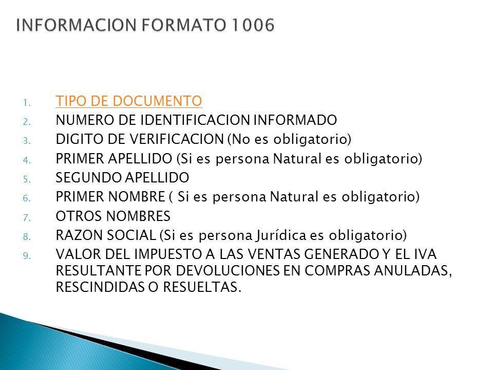 INFORMACION FORMATO 1006 TIPO DE DOCUMENTO