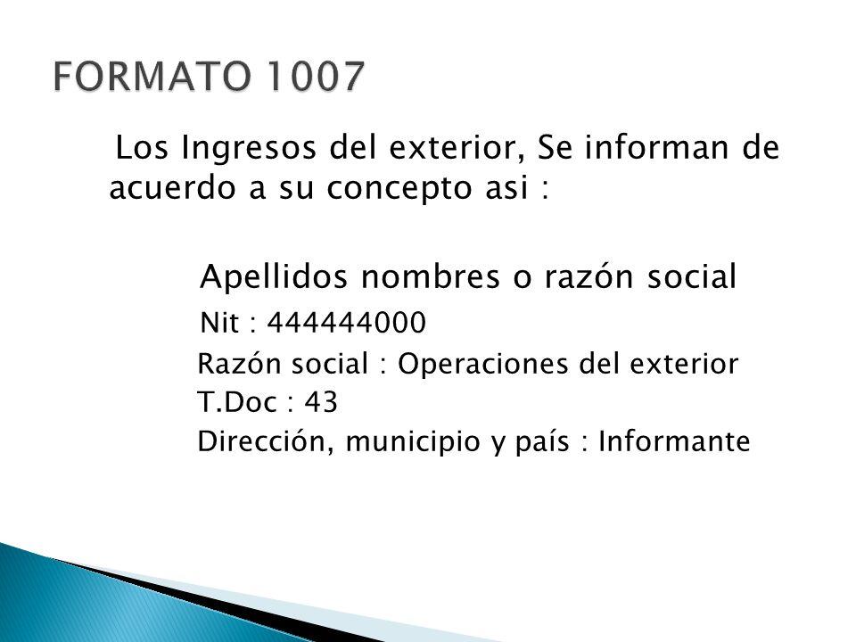 FORMATO 1007 Los Ingresos del exterior, Se informan de acuerdo a su concepto asi : Apellidos nombres o razón social.