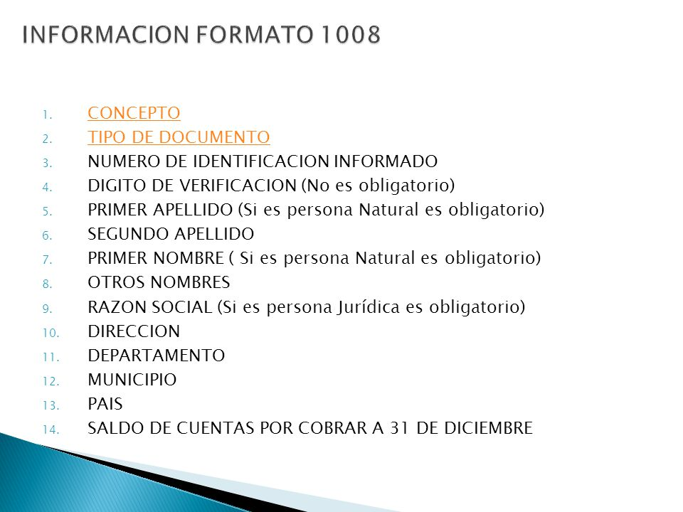 INFORMACION FORMATO 1008 CONCEPTO TIPO DE DOCUMENTO