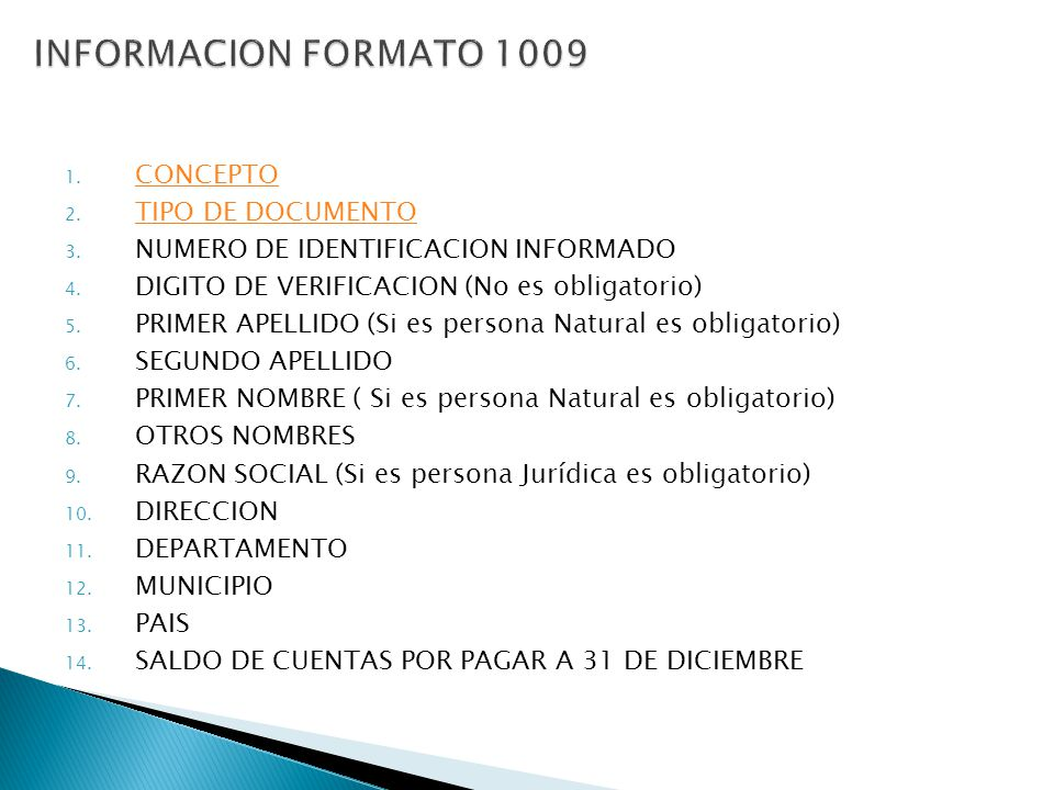 INFORMACION FORMATO 1009 CONCEPTO TIPO DE DOCUMENTO