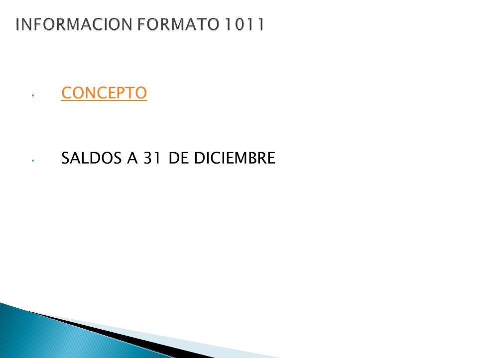 INFORMACION FORMATO 1011 CONCEPTO SALDOS A 31 DE DICIEMBRE