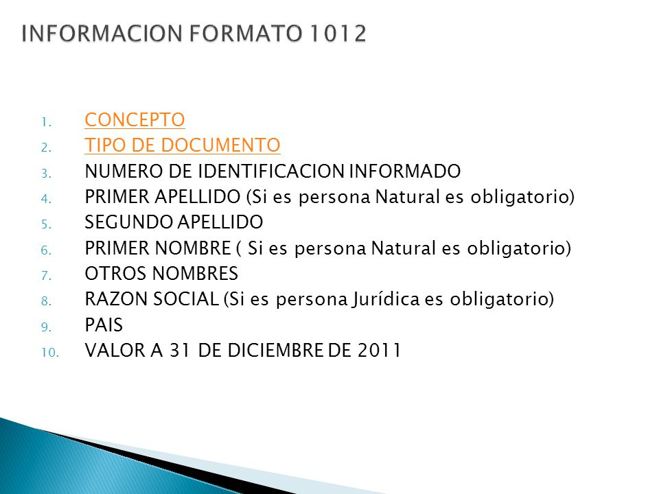 INFORMACION FORMATO 1012 CONCEPTO TIPO DE DOCUMENTO