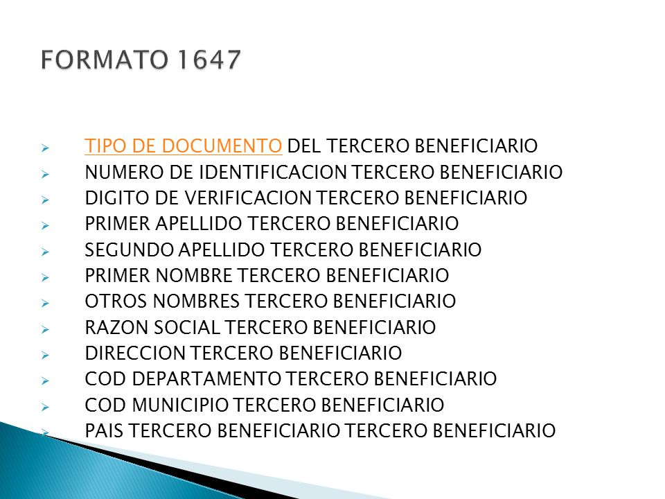 FORMATO 1647 TIPO DE DOCUMENTO DEL TERCERO BENEFICIARIO