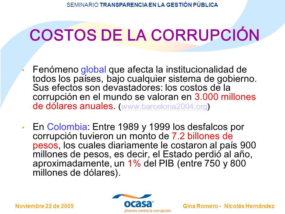 COSTOS DE LA CORRUPCIÓN