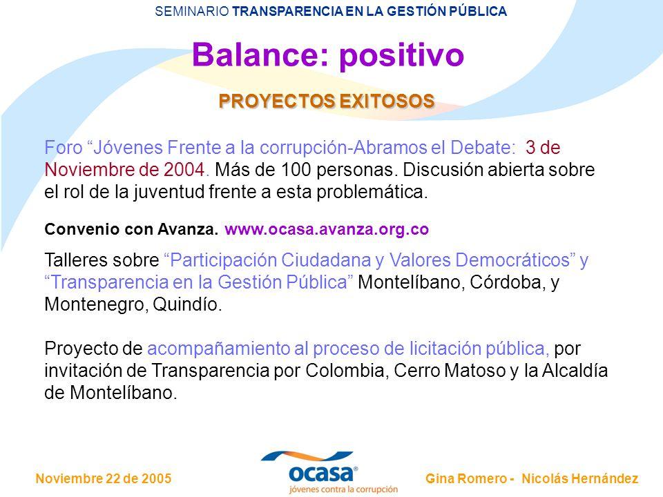 Balance: positivo PROYECTOS EXITOSOS