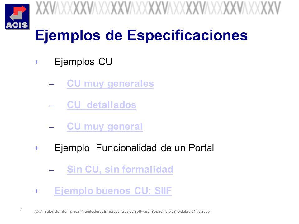 Ejemplos de Especificaciones