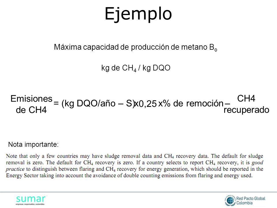 Máxima capacidad de producción de metano Bo