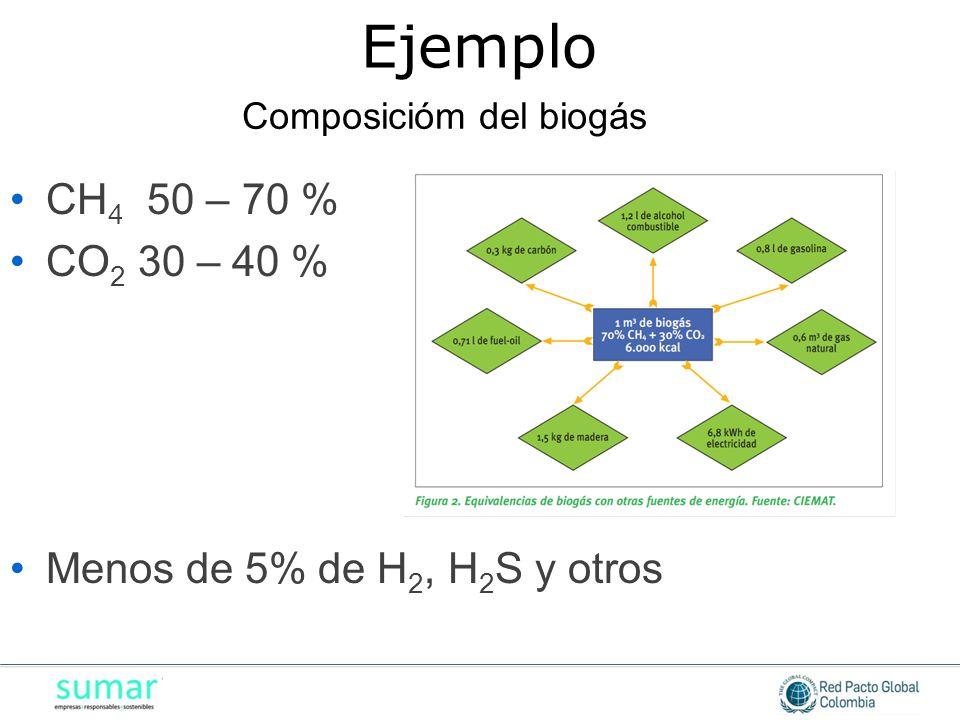 Ejemplo CH4 50 – 70 % CO2 30 – 40 % Menos de 5% de H2, H2S y otros