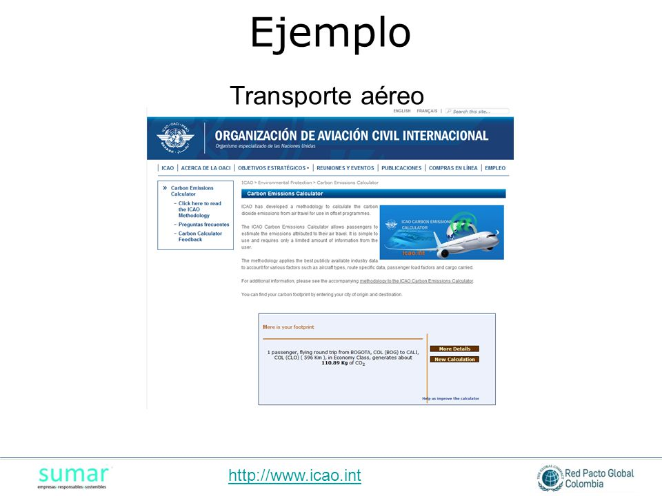 Ejemplo Transporte aéreo http://www.icao.int