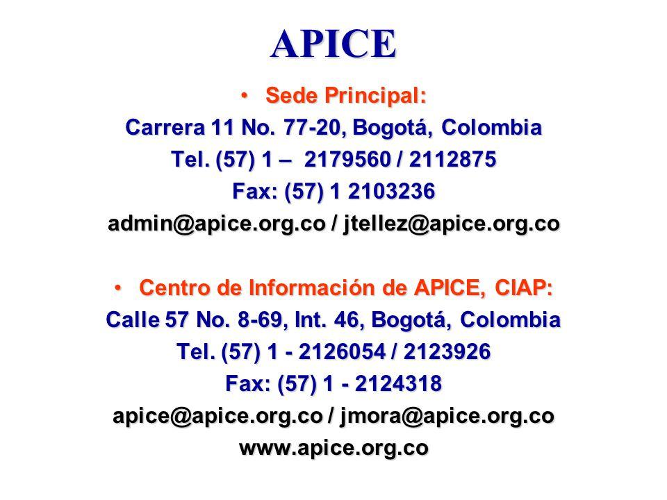 APICE Sede Principal: Carrera 11 No. 77-20, Bogotá, Colombia