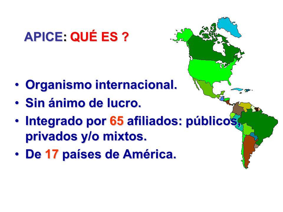 APICE: QUÉ ES Organismo internacional. Sin ánimo de lucro. Integrado por 65 afiliados: públicos, privados y/o mixtos.