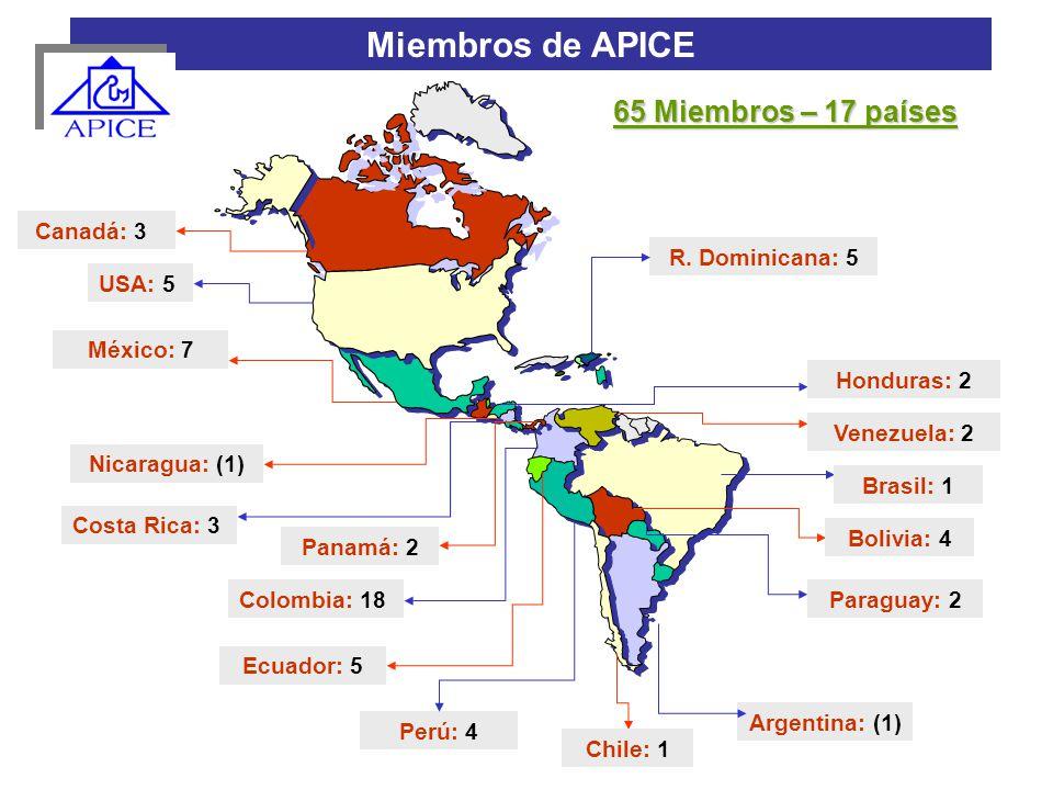 Miembros de APICE 65 Miembros – 17 países Canadá: 3 R. Dominicana: 5