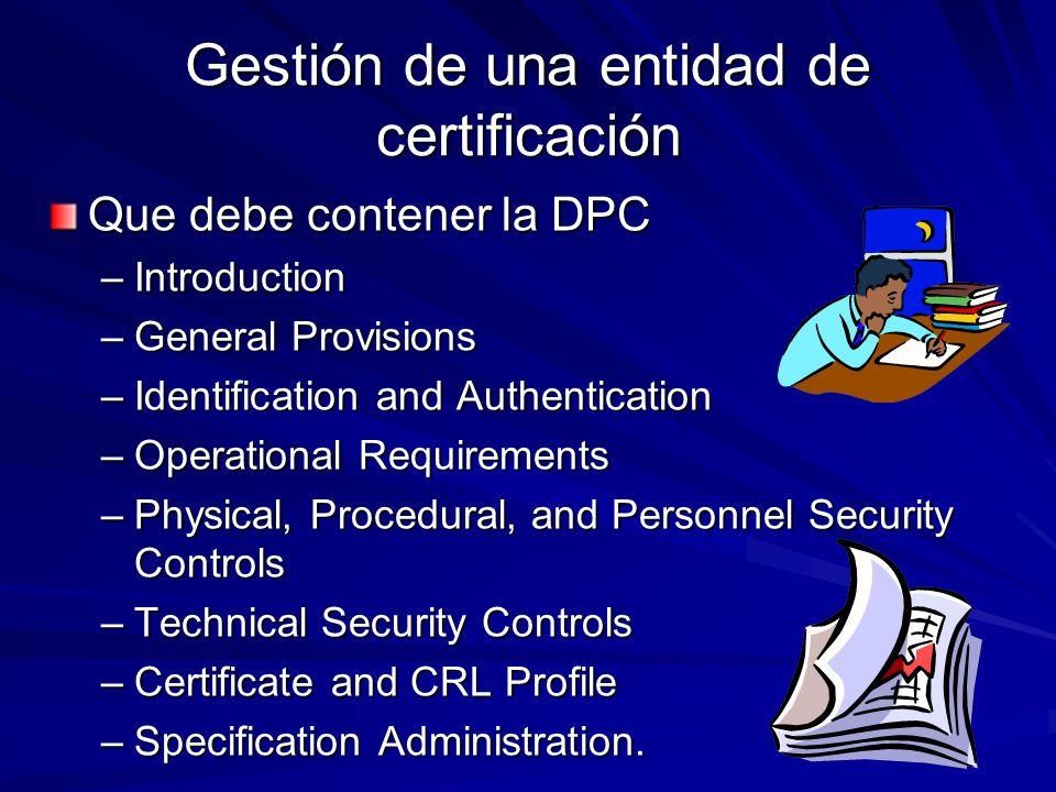 Gestión de una entidad de certificación