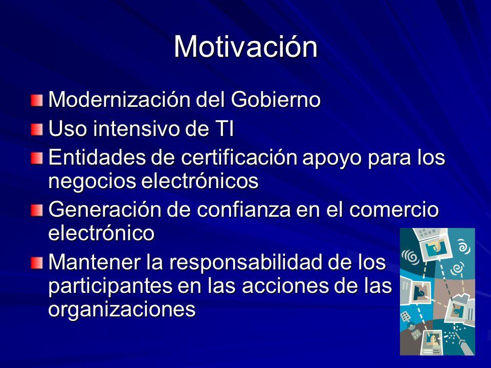 Motivación Modernización del Gobierno Uso intensivo de TI
