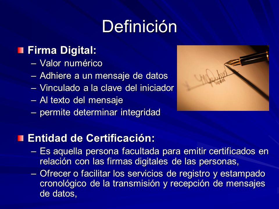 Definición Firma Digital: Entidad de Certificación: Valor numérico